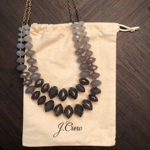 J. Crew Gray Beaded Ombré Necklace Adjustable